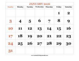 January 2016 Calendar PDF, DOC, Excel | Wallpapers 242