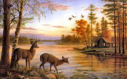 deer artwork cabin lakes 1920x1200 wallpaper High Resolution Wallpaper 1843