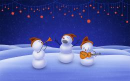holidays, art, christmas day, snowman, music, desktop wallpaper 396
