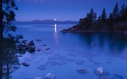 Secret Cove By Moonlight, Lake Tahoe California wallpaper 1930