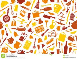 Seamless background with icons of kitchen ware and utensils 1676
