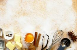 Baking utensils, spices and food ingredients with copy space 362