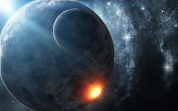 Art, space, planet, moon, stars, explosion wallpaper 107