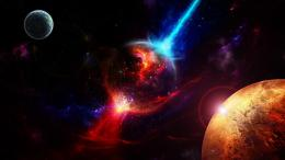 Explosion in space galaxies stars planets 765