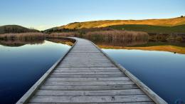 Download wallpaper Wooden bridge on the lake: 1186