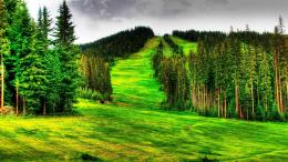 Beautiful mountain ski slope summer hdr wallpaper 818