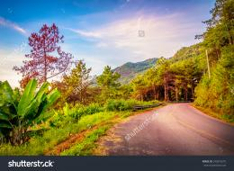 Beautiful land way Mountains full color landscape Blue sky vivid hdr 991