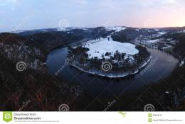 Horseshoe bend of the river Vltava in the Czech republicwinter 745