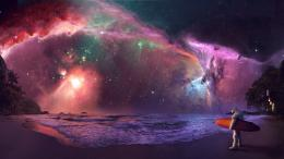Surfing astronaut under the colorful night sky HD Wallpaper 1920x1080 1396