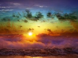 Colorful Sky Sunset Waves Landscape Like Painting HD Wallpaper 776