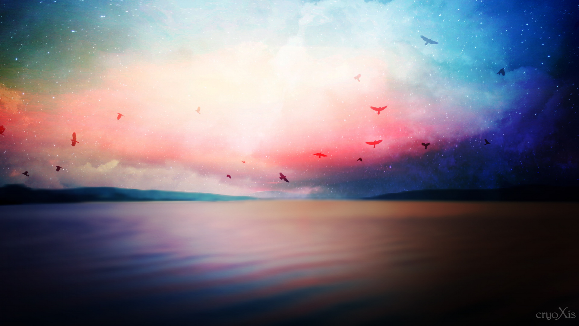 the wallpaperThe Sea in Peaceful and Slow Flow, the Sky is Colorful 1428
