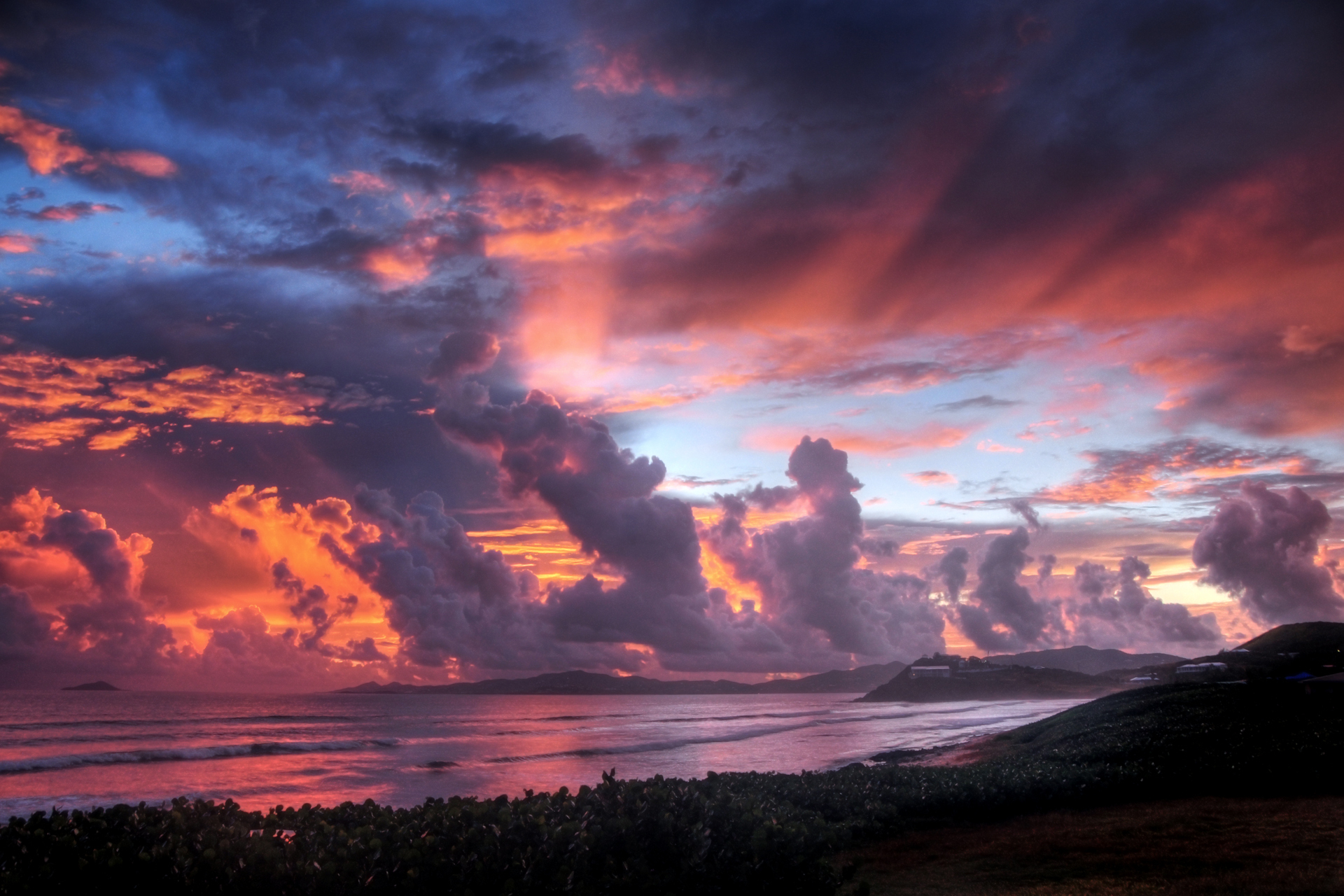 Sunset, Sky, Clouds, Color, Sea, Beach, Nature wallpapers 1688