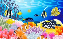 Under the sea corals cartoon fish abstract wallpaper 208