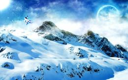 Planet over snowy mountains wallpaper301697 984