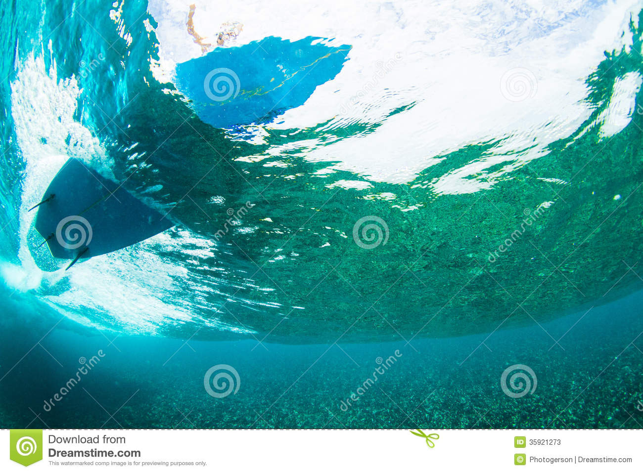 Surfer On Tropical Wave Underwater Vision Stock PhotosImage 265