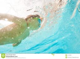 under the crystal clear water of swimming pool underwater shoot 1985
