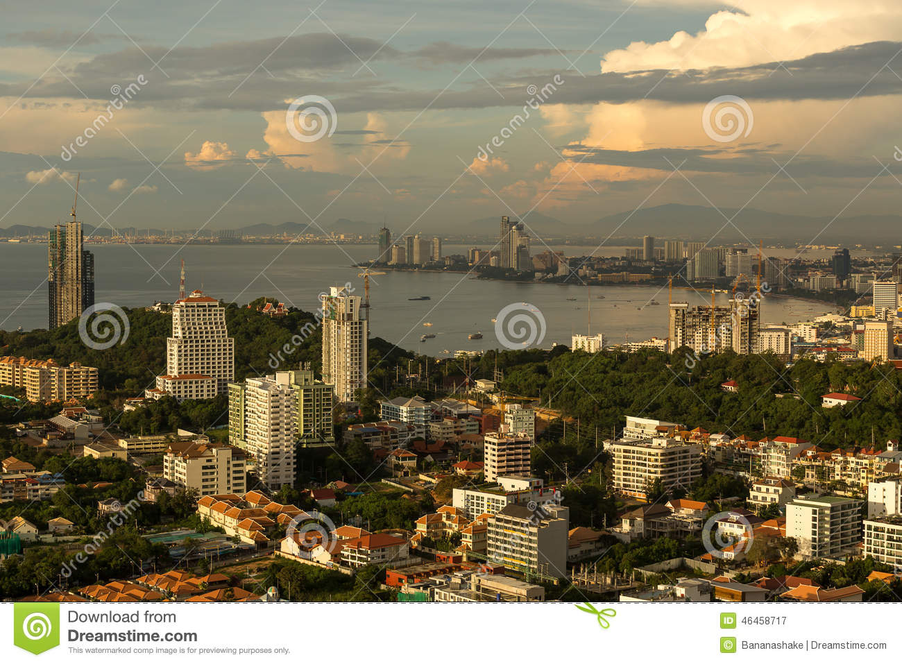 Pattaya cityscape on sunset show beach curve and bay 1755
