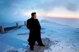Korean leader Kim Jong Un views the dawn from the summit of Mt Paektu 1529