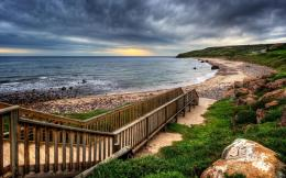 Wooden walkway to the beach Hdr wallpaper 144