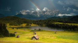Mountain, Green, Beautiful, Rainbow, Lake, Nature 1639