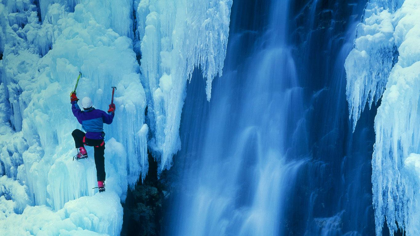 ice climbing desktop wallpaper