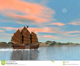 Oriental Junk By Sunset3D Render Stock IllustrationImage 697