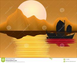 Oriental Junk At Sunset Royalty Free Stock PhotosImage: 21134688 1135