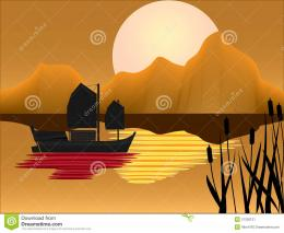Oriental Junk With Sunset Background Stock ImageImage: 21200121 1273