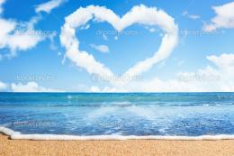 Beach and seaHeart of clouds on skySymbol of love – Stock Image 501