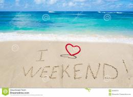Sign I love weekend with heart on the sandy beach by the ocean 1067