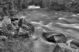 Beautiful Black and White River Rapids – Stock Image 591