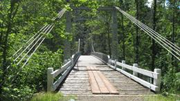 This suspended bridge at the Upper Sacramento River Sims River Access 1692