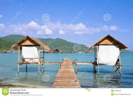 Wooden Beach Bungalows Over Water Royalty Free Stock PhotosImage 1736