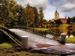 , autumn, beautiful, bridge, castle, clouds, colors, grass, lake 1327