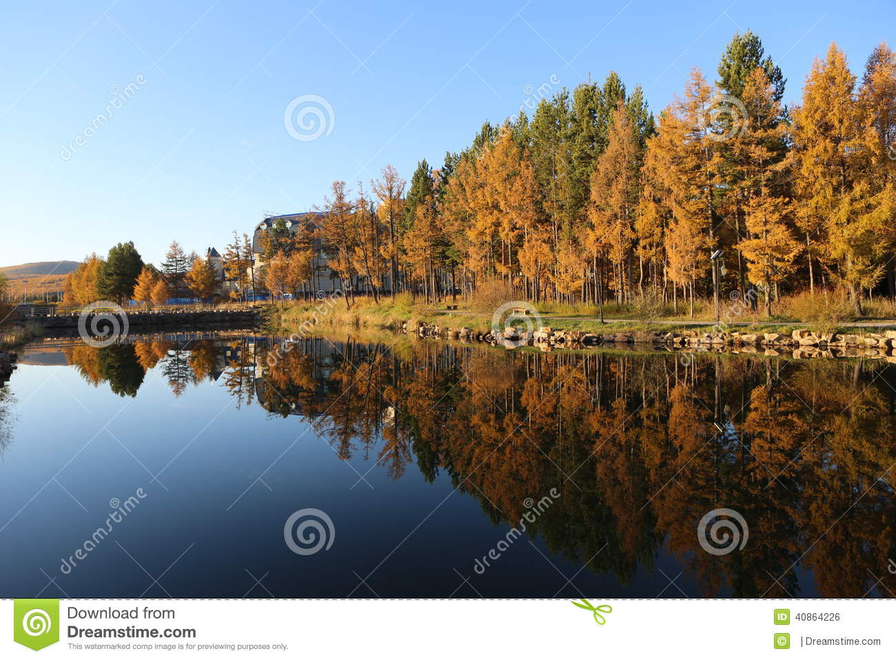 Peaceful surface of lake reflect the view of fall colorful forest 133