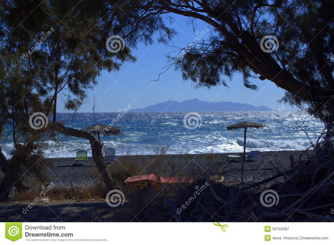 Peaceful Morning Beach Santorini Greece Royalty Free Stock Photography 982