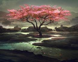 Pink Tree Painting Hd Wallpaper | Wallpaper List 315
