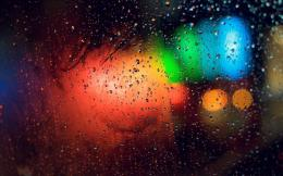 Raindrops On Glass Surface And Blurry Abstract City Lights 633