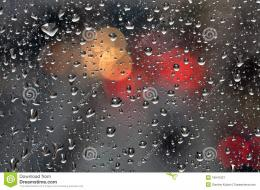 Raindrops on glass surface and blurry abstract city lightsBackground 423