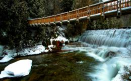 forest bridge wallpaper tags forest winter landscape river bridge 1217
