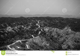 Road To Nowhere, Black And White Picture Of Road Among Hills And Stock 842