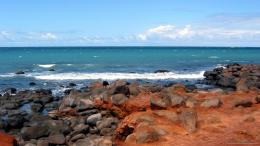 1366x768 Orange Rocks On The Beach Wallpaper 1516