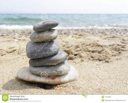 Cairn stones on the beachbeach at Mediterranean 842
