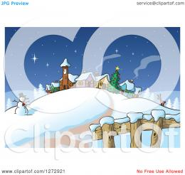 Clipart of a Road Leading to a Snowman Reindeer Christmas Tree and 1811