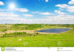 Summer Landscape Of Green Valley And Blue Sky Stock Photography 925