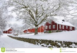 Characteristic Swedish settlement in winter season 1071
