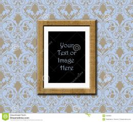 Teak wood frame on antique wallpaper with copyspace 1375