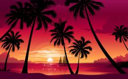 palm trees Wallpapertags: Nature, beach, sea, boat, sun, sunset 271
