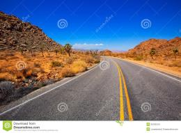 Joshua Tree Boulevard Road In Yucca Valley Desert California Stock 880