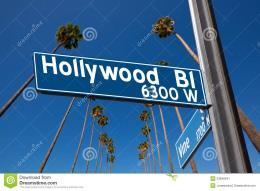 Hollywood Boulevard With Sign Illustration On Palm Trees Stock Image 309